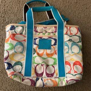 White colorful monogram coach purse/small tote